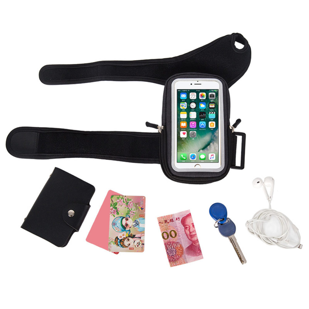 Riding Running Wrist Bag Polyester Touchable Forearm Band Pack Bike Mount Phone Holder Pouch For 5.5 Inch Smartphone