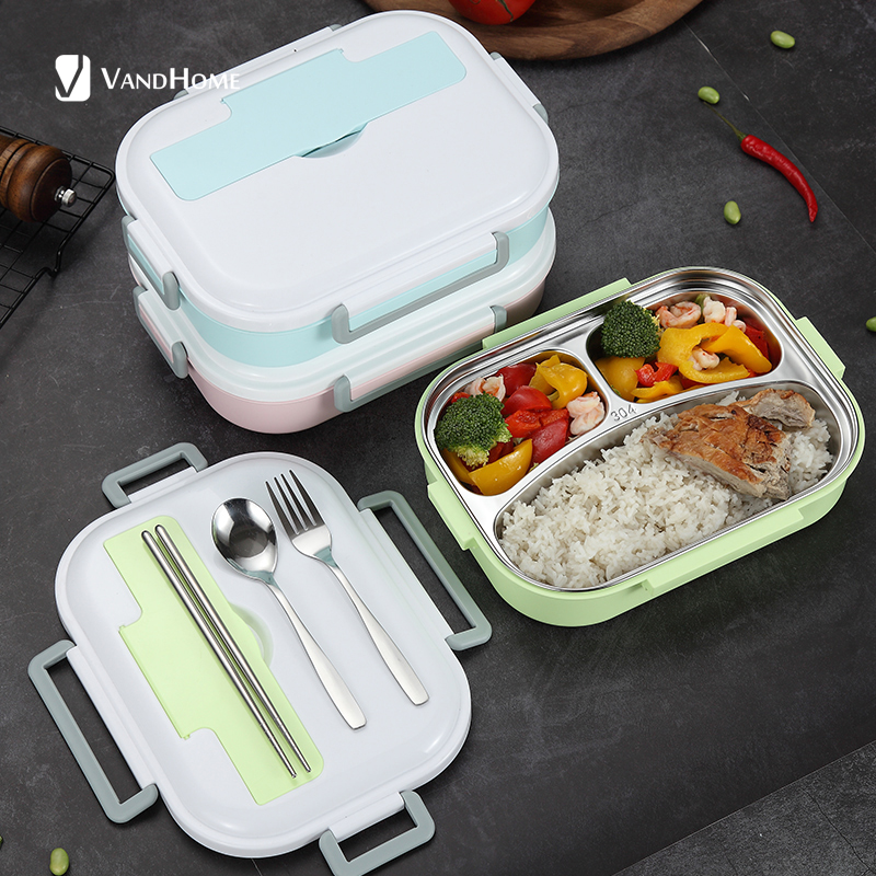 VandHome 304 Stainless Steel Lunch Box With Compartments Japanese Microwave Bento Box For Kids School Portable Food Container