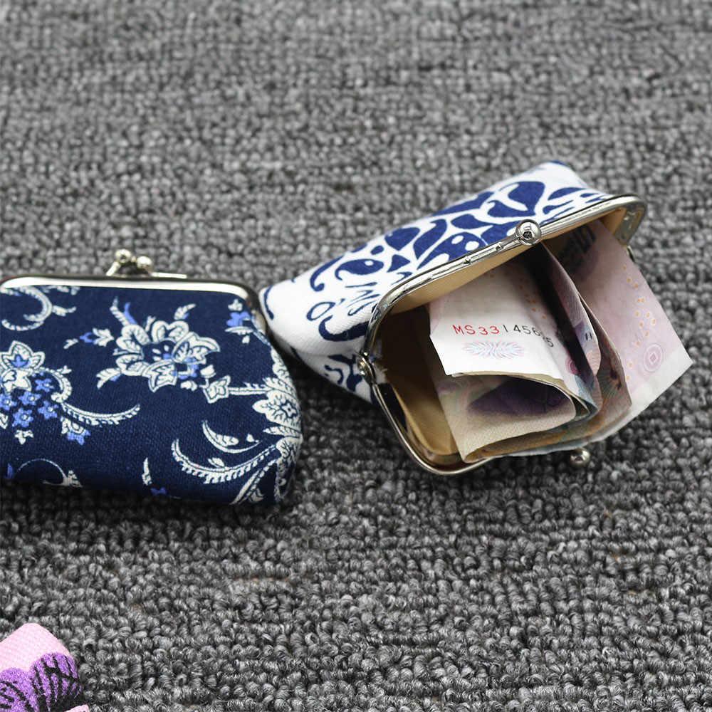 Wanita Retro Vintage Bunga Kecil Dompet Pengait Dompet Clutch Tas Wanita Mini Dompet Koin Bolsos Mujer De Marca famosa 2017