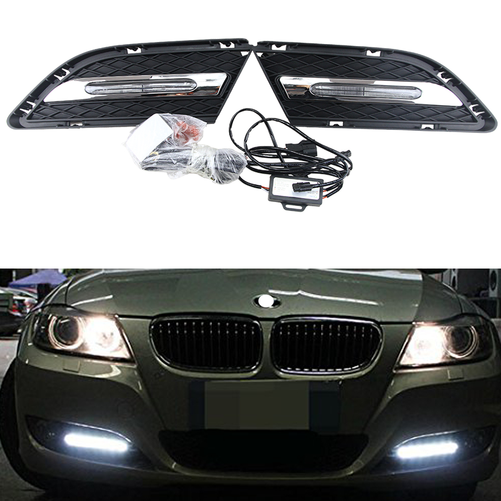 12V Car Accessories LED Daylight DRL Daytime Running Light For BMW E90 E91 3 Series 320i 323i 325i 330i 10-12 Auto Fog Lamp car styling daytime running light auto fog lamp for b mw e90 3 series led daylight drl