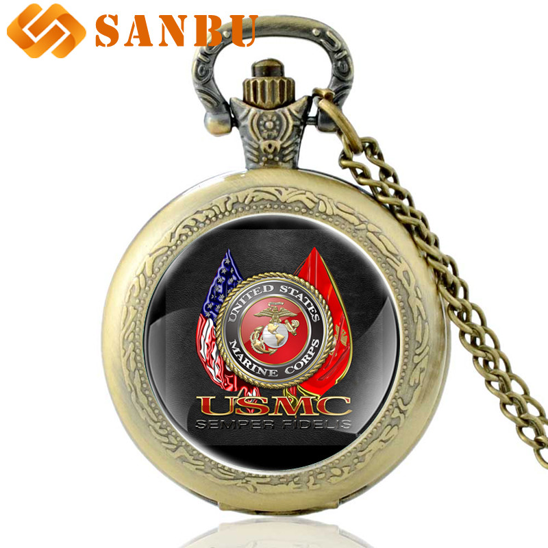 Vintage Classic Marine Corps-USMC Quartz Pocket Watch Retro Men Women Bronze Necklace Watches