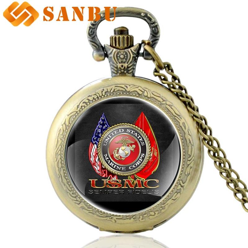 Vintage Classic Marine Corps-USMC Quartz Pocket Watch Retro Men Women Bronze Necklace Watches