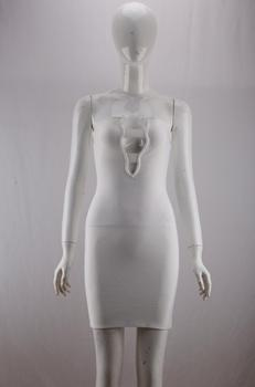 Free Shipping Women Summer Fashion Solid Sexy Key Hole White Bandage Dress 2020 Designer Fashion Evening Party Dress Vestido 5