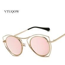 NEW Rose Gold Mirror Sunglasses Women Metal Frame Brand Designer Oculos Fashion Sun Glasses For Women Luxury Shades Female UV400