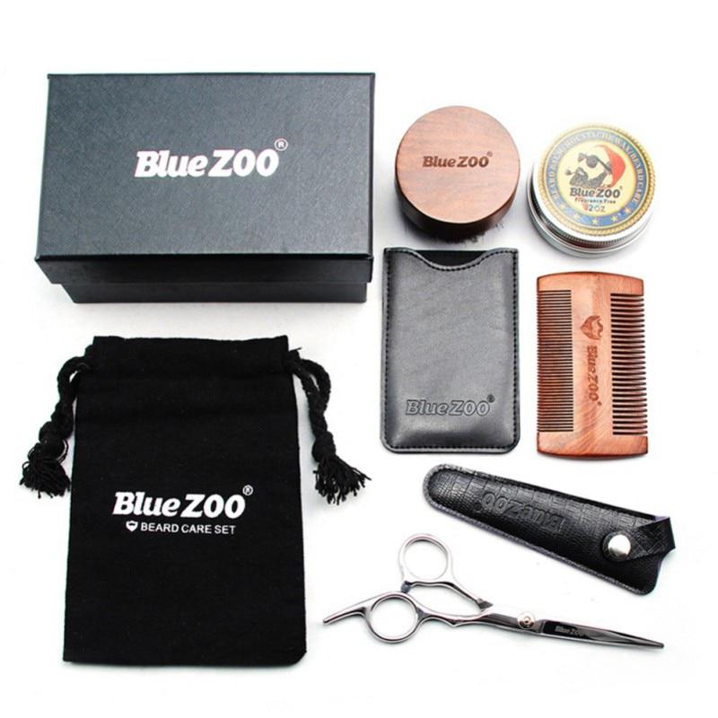 Men Moustache Cream Nutrition Beard Oil Scissors Kit with Moustache Comb Brush Storage Bag Set Black Sandalwood 2018 Products