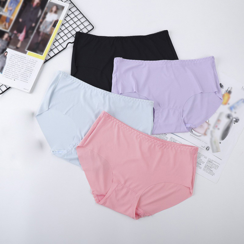 Women sexy underwear Women's Panties Women Plus Size Soft Sexy Brief Lingerie No Trace Thread Soild Underwear Panties#3G
