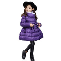 cute girl parkas coat elegant solid cotton overcoat for 4 12yrs children girls Winter jacket child thick warm outerwear coat
