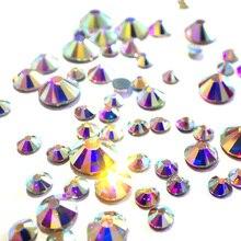 AAAAA Best Quality Clear AB Crystal Hot Fix Rhinestone Super Bright Glass Strass Hotfix Iron On Rhinestones For Fabric Garment