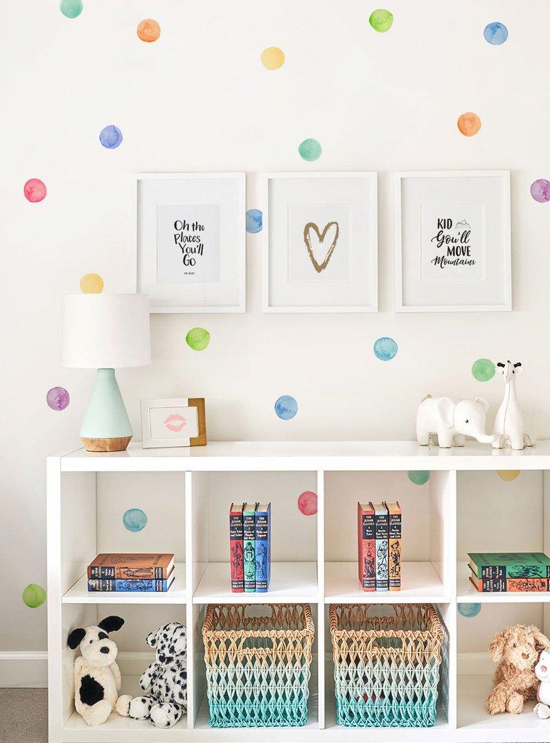 DreamArts Aquarell Punkte Wand Aufkleber Regenbogen Unregelmäßig Geformte Tupfen Schälen und Stick Wand Abziehbilder Kinderzimmer Decor