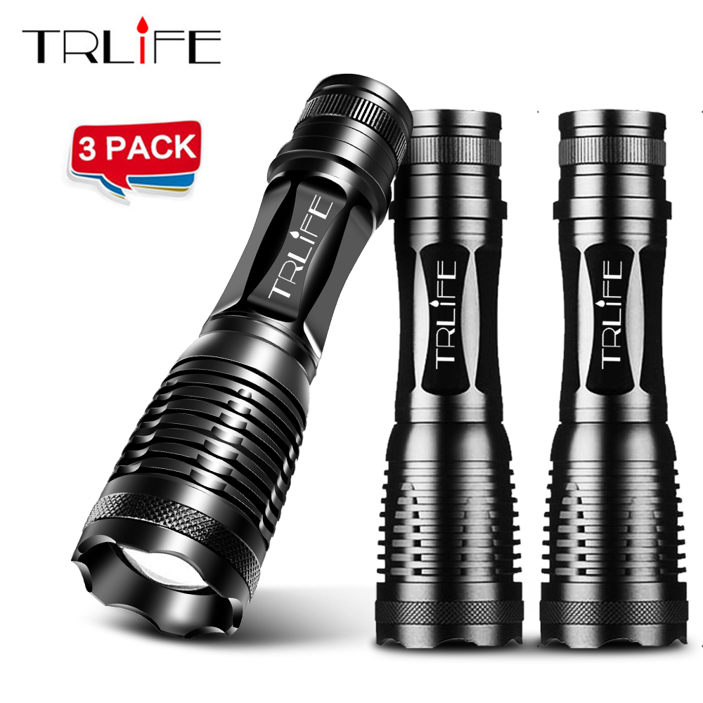 1/2/3PCS T6 LED Torch L2 Tactical LED Flashlight Zoomable Fishing Light 5 Modes Lanternas By 3xAAA Or 1x18650 Battery