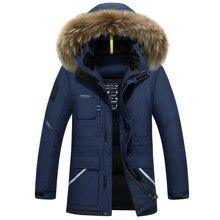 IN-YESON 2017 blanc duvet de canard veste d'hiver hommes épaississement casual chaud-40 col de fourrure de veste d'hiver à capuchon marque manteau parkas