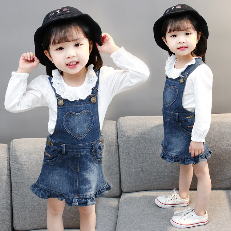 2018 Fashion Girls Jeans dress Suspenders Flounce Spring Summer Girls Solid Color Sweet All-match Blue Denim Strap Mini dresses цена