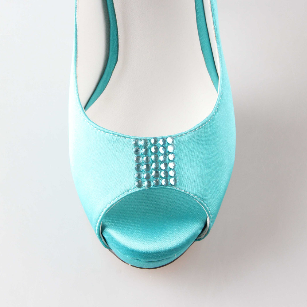 Creativesugar Handmade aqua blue turquoise wedding shoes rhinestone ...