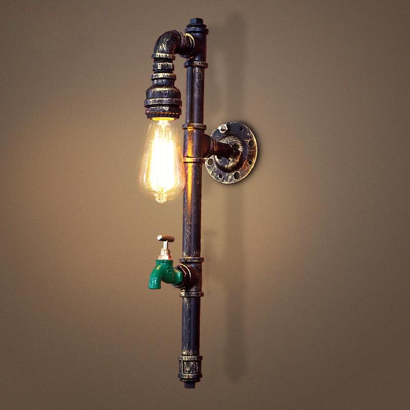 new fashion wroguht iron Water pipe wall lamp vintage aisle lights loft iron wall lamp edison incandescent light bulb