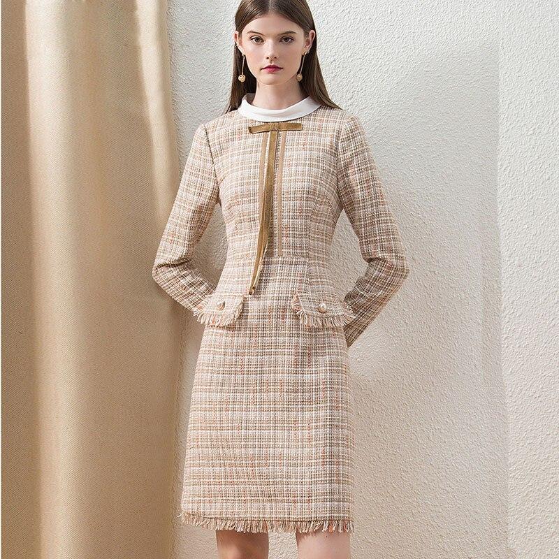 HELIAR kaki Tweed hiver Chic robe à carreaux pour femme mode personnalisé Midi bureau dame robe épaisse gland mince élégante robe - 2