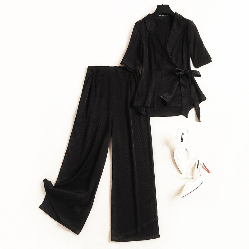 Shuchan Office Lady 2 Piece Set Women Conjunto Feminino Tops+ Elastic Waist Calf-length Pants Fashion Women Suit black 11029