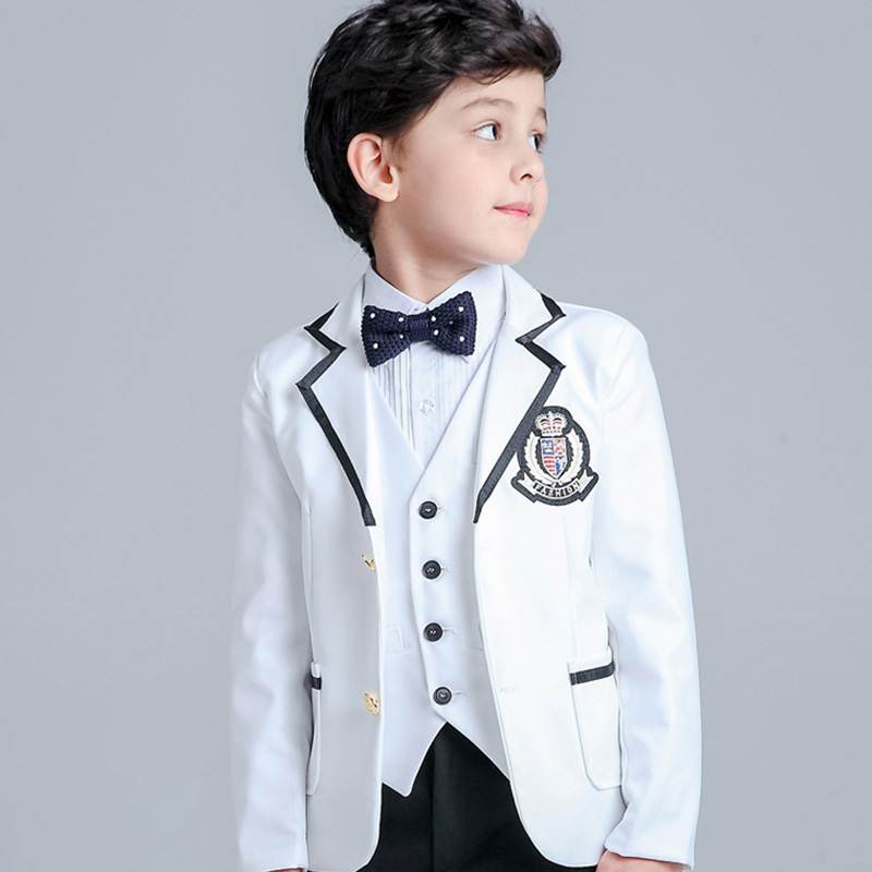 5 Pcs/Set New Arrival Fashion Boy Suit For Wedding Prom Formal Black ...