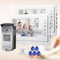 "FREE SHIPPING NEW 7"" LCD Home Video Intercom Door phone System With 2 White Monitor + 1 RFID Card Reader Door Camera WHOLESALE"
