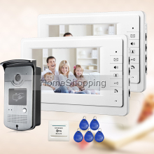 FREE SHIPPING NEW 7″ LCD Home Video Intercom Door phone System With 2 White Monitor + 1 RFID Card Reader Door Camera WHOLESALE