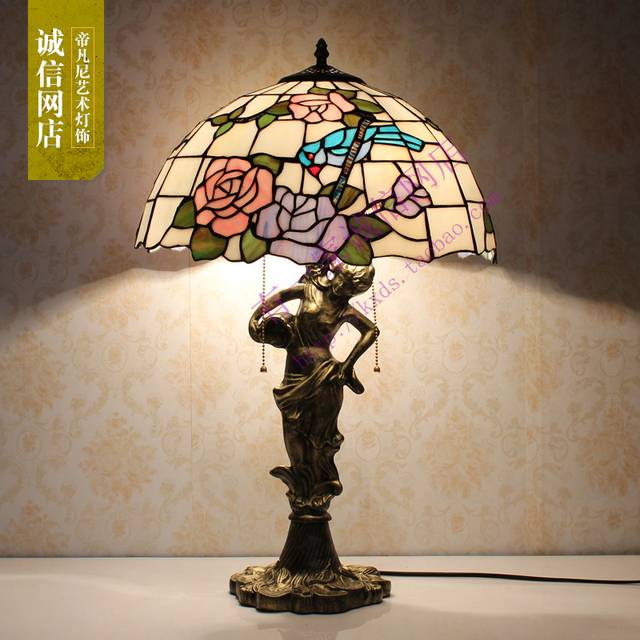 16inch Fashion Tiffany Beauty Dragonfly Rose Flower Stained Glass