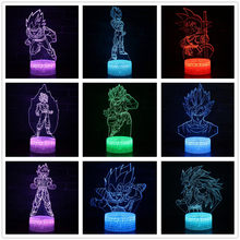 Dragon Ball Kakarotto Son Gohan Vegeta Trunks Célula Freeza Cyborg 7 alterar Cor 3D Optical Illusion Night Light Lamp(China)