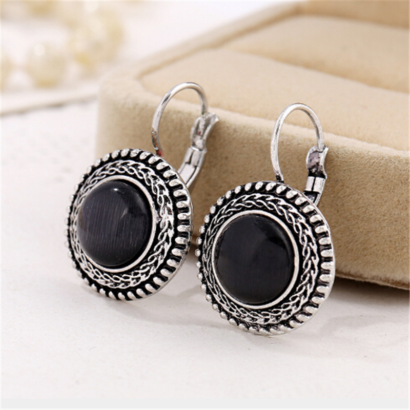 Carved Vintage Tibetan Silver Earrings