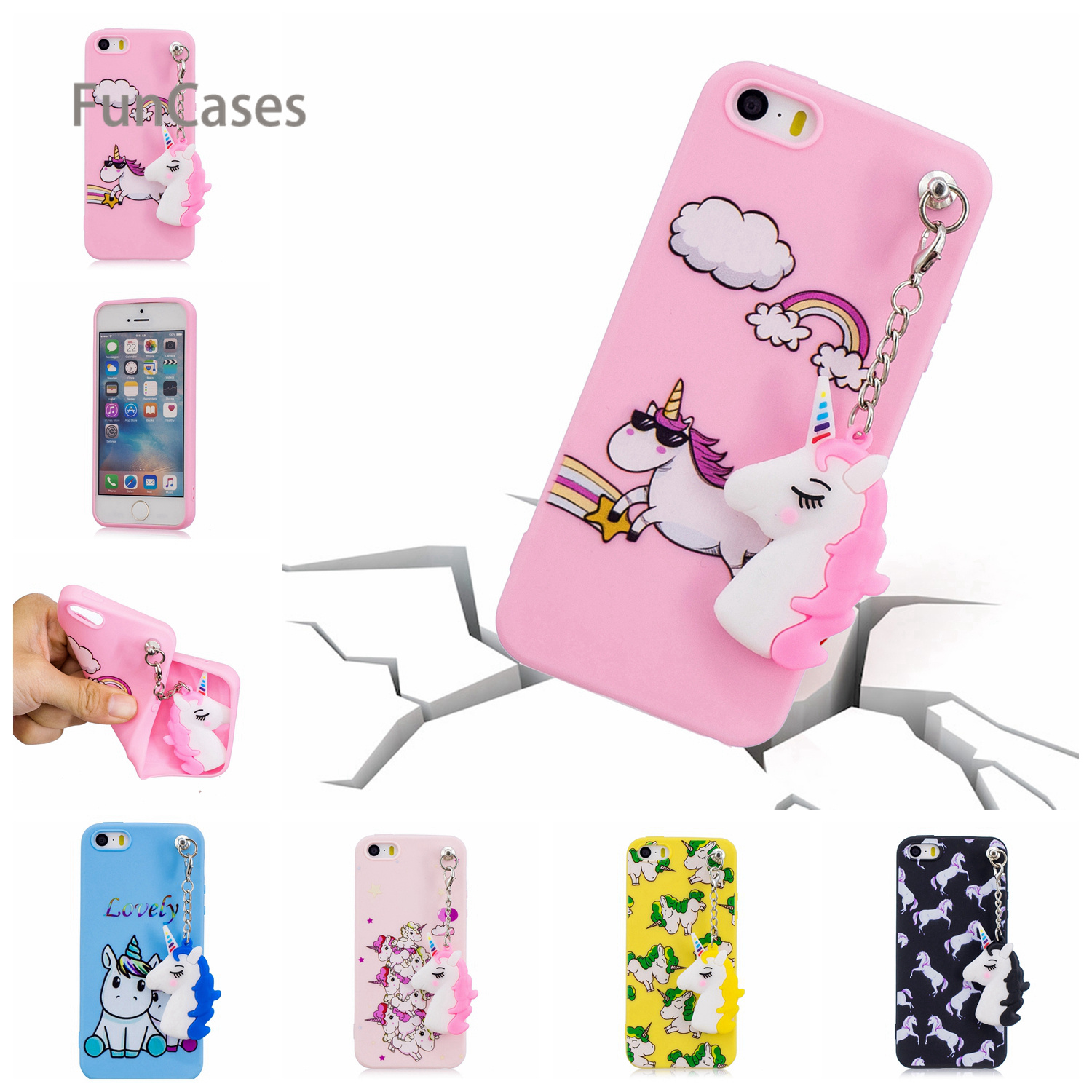 Multicolor Unicorn Pendant Phone Case sFor Celular iPhone 5 Soft Silicone Phone Case Cellphone Phone Case iPhone 5S SE 5C ...