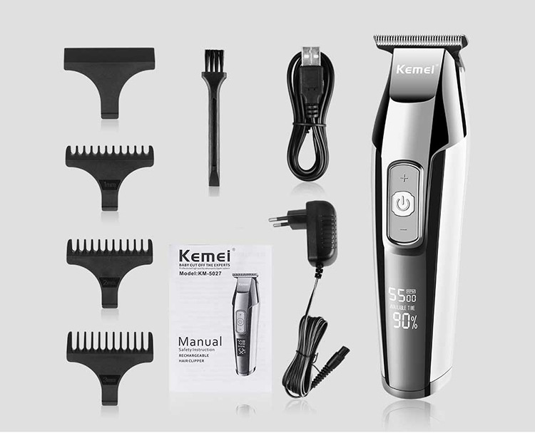 KM-5027 Rechargeable Clipper Professional Hair Trimmer Men Electric Shaver Cutter Hair Cutting Machine Haircut 110V-240V