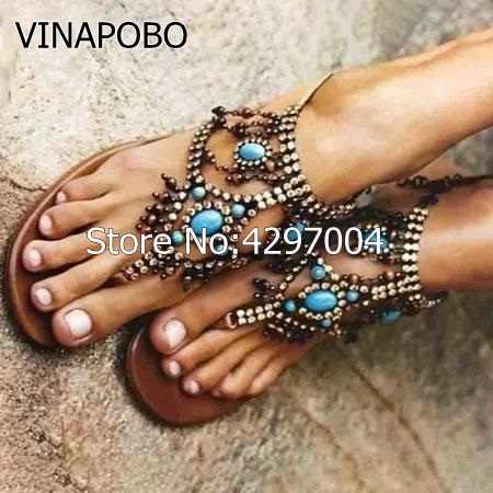 Böhmen Stil Diamant Strass Shiny Verschönert Ring Kappe Flache Sandalen Schnalle Gladiator Fransen Perle Flip-Flops Schuhe