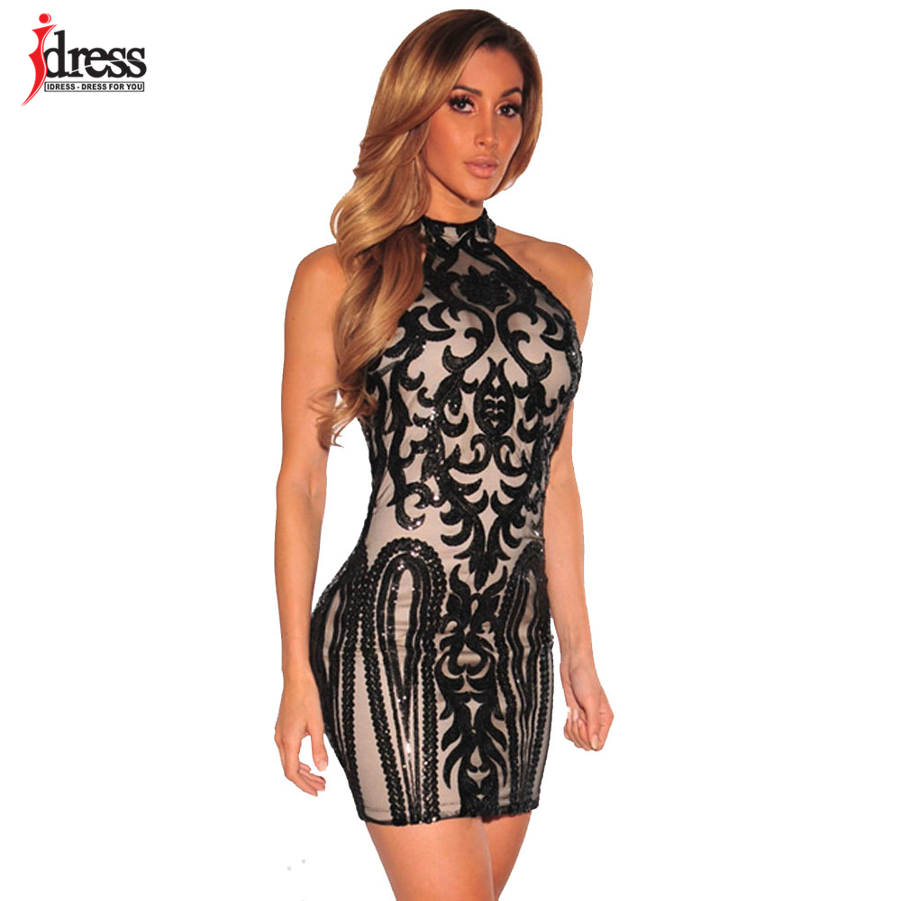 IDress Usine D'été Femmes Halter Cou Vestidos Sexy Moulante Night Club Dress  Noir Or