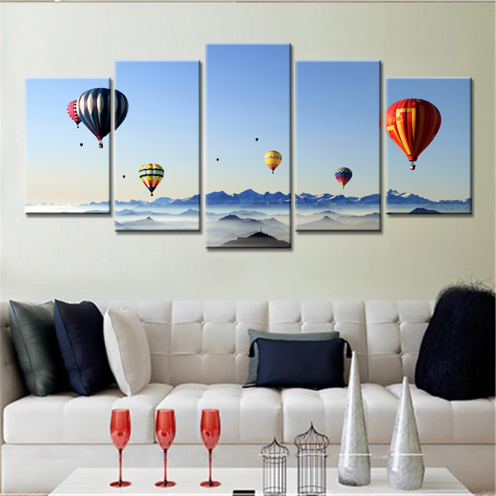 Marvelous 5 Panel Drop Shipping Modern Home Decor Hot Air Balloon Sea HD Printed  Painting Canvas Paints Oil Painting Wall Art  In Painting U0026 Calligraphy  From Home ...