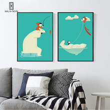 Original Design Full of Childhood Fun White Bear Carrying A Baby in Red Fishing in the Green Water Wall Mural Decor Oil Printing