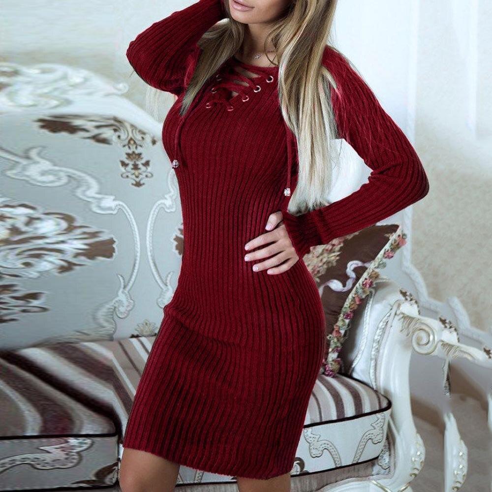 Women Winter Autumn Sweater Dress 2018 Fashion Women Long Sleeve Bandage Bodycon Vintage Dresses Solid Color Female Sexy Dress