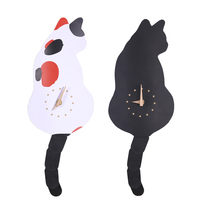 Cute Wall Clock Wagging Tail Clocks Cat Lovers Closeout Black Spaniel White Black Segmented Wagging Tail Wall Clock