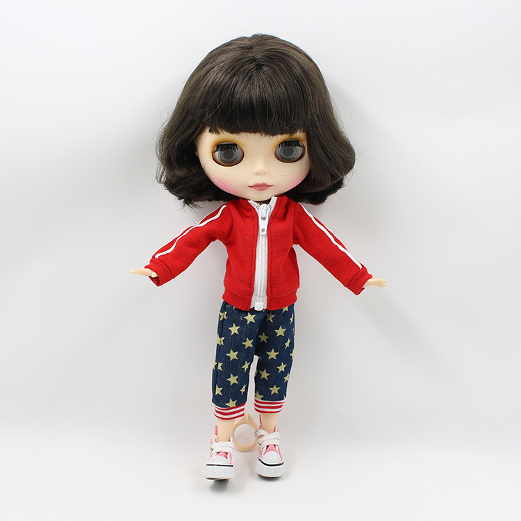 free shipping factory blyth doll BJD neo black short hair joint body matte frosted face 1