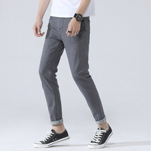 2019 new spring autumn man quality slim jeans fashion gray jean causal personal young male leisure clothing