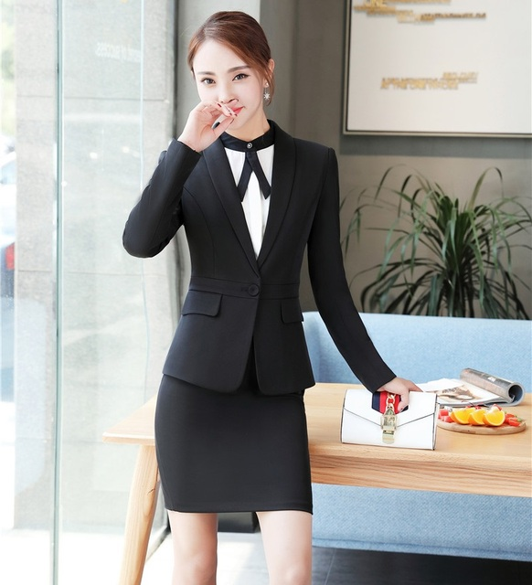 263d5f9fed Black Blazer Women Business Suits Formal Office Suits Work Uniforms Ladies  Skirt and Jackets Sets OL Styles
