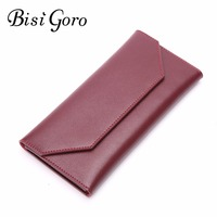 Bisi Goro Women Wallet Genuine Leather Cowhide Leather England Style Ultra Thin Women Card Holder Female