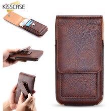 Kisscase роскошная кожаная поясная сумка Зажим для ремня чехол для iPhone 6 S iPhone 7 s плюс IPHONE 8 Xiaomi слот для карт Телефон Чехол кобура