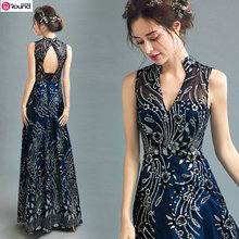 New Arrival Noble V-neck Gilding Dark Blue Mother of the Bride Dress/Sexy Evening Dress 1227