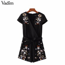 Women sexy V neck  flower embroidery playsuits sashes pleated elastic waist rompers pockets ladies vintage casual pants KZ904