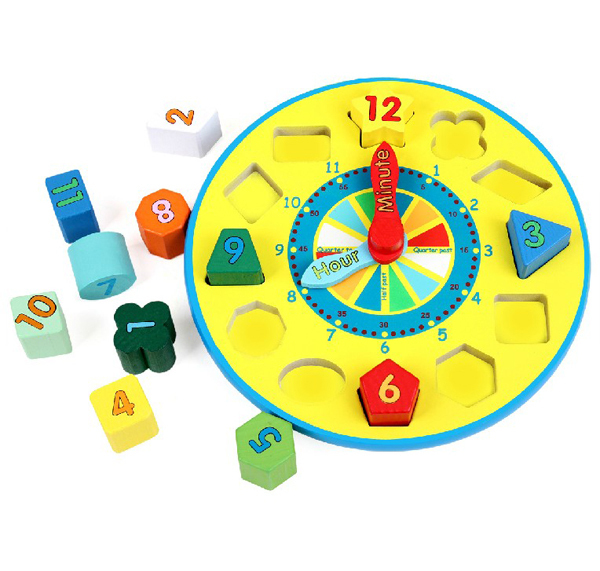 Wooden Shape Sorting Clock Block Set Toddler Educational Toy with Retail Box