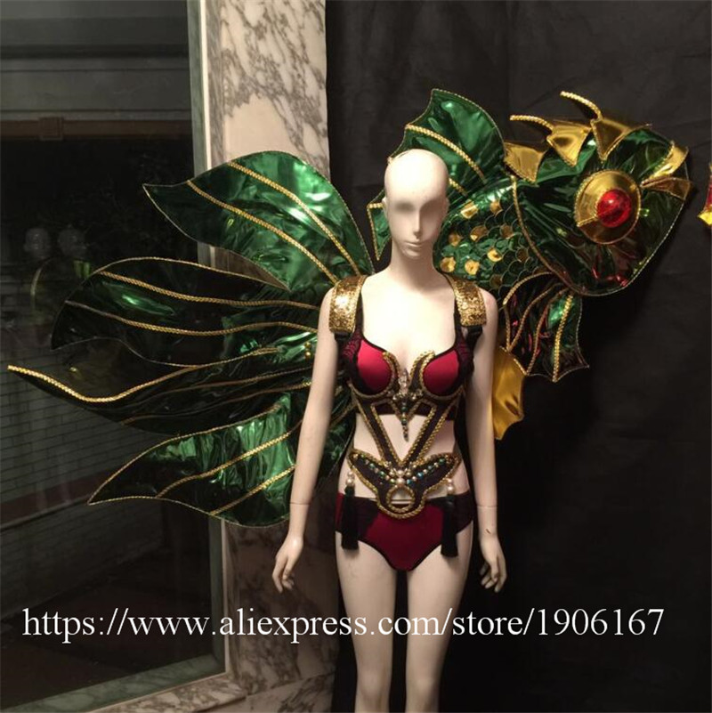 Victoria Catwalk Show Gold Plated Wings TVShow Eveing Dress Costumes Stage Performance Cosplay Women Clothes Party Supplies2