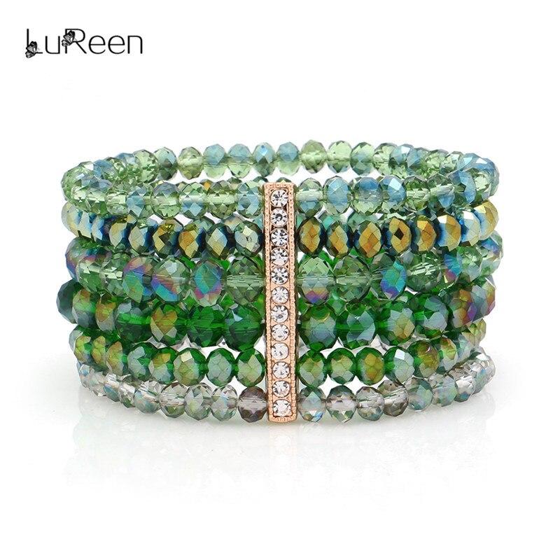 LuReen Handmade Crystal Beads Bracelet Women Colorful Multilayer Wristband Bangle Bracelets Jewelry Party Dance 2018 New LB0006