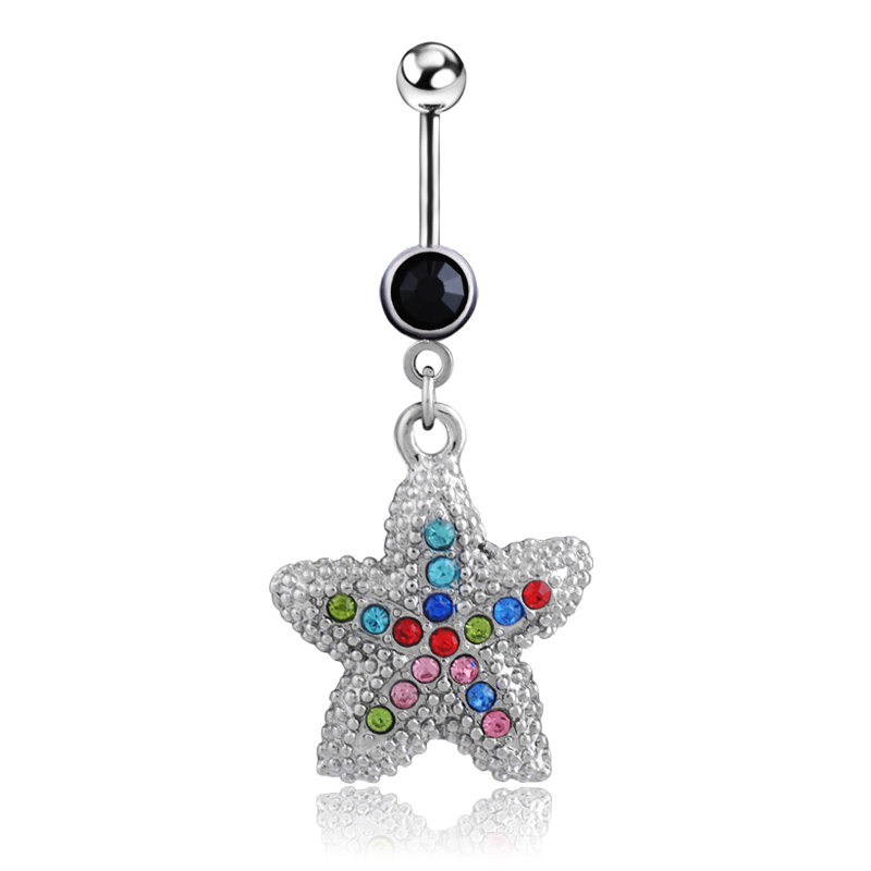 2016 cute black starfish belly button rings surgical steel for Belly button jewelry store
