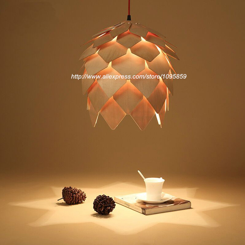 Modern Pinecone Wooden Pendant light Dining Room Restaurant Wood Ceiling Fixture Lighting