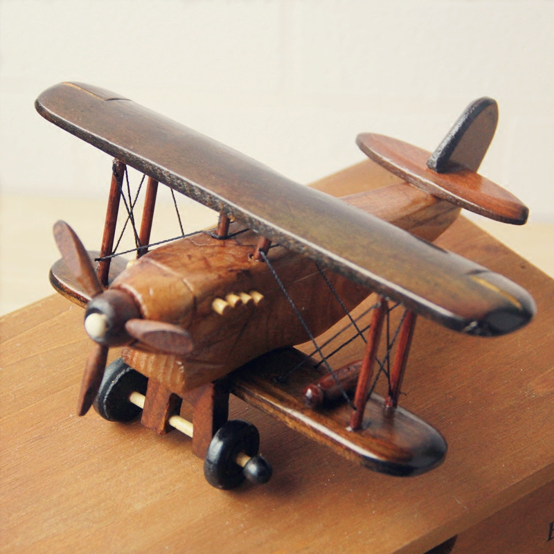 Vintage Toys Airplane Model Wood Handcraft Plane Aircraft Home Decoration Handicraft image