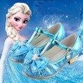 Qualidade superior crianças da menina elsa menina princesa de bling flor do coração shoes shoes moda sapatos de dança de couro único shoes 27-37 99-11