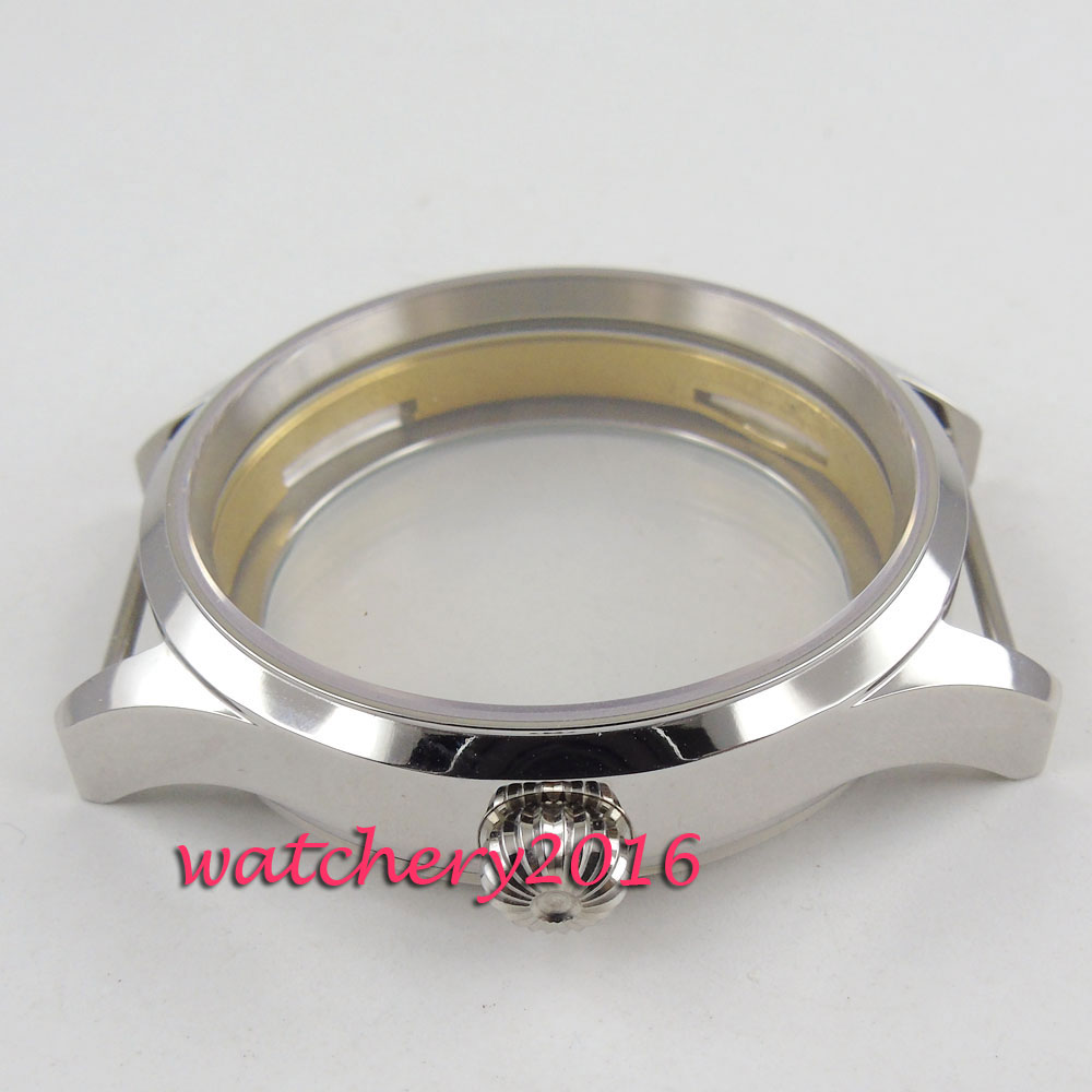 Polished 43mm sterile steel Watch CASE sapphire glass fit 6498 6497 movement