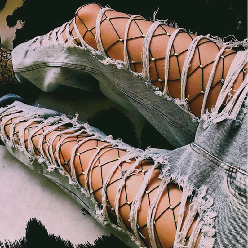 Пикантные Для женщин с украшением в виде кристаллов со стразами ажурные эластичные чулки в сеточку, плотные колготки женские чулки